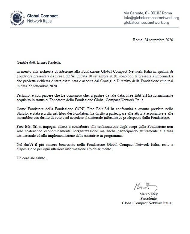 Lettera benvenuto Global Compact Network Italia