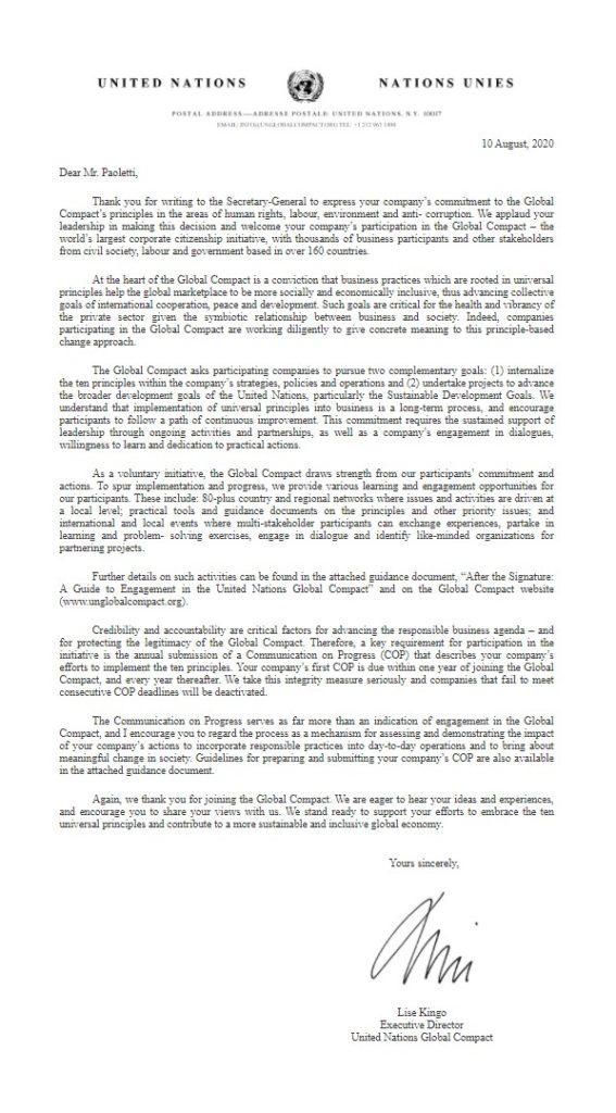 Lettera di Benvenuto UNGC